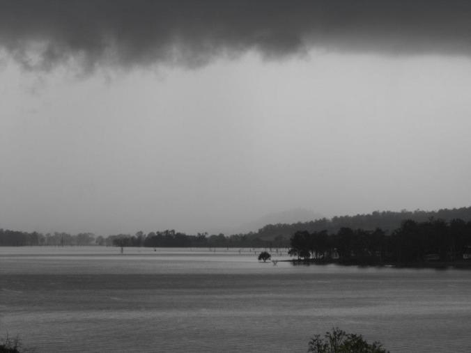 The changing mood of Moogerah. A freak storm had us running for cover and turned the lake silver.
