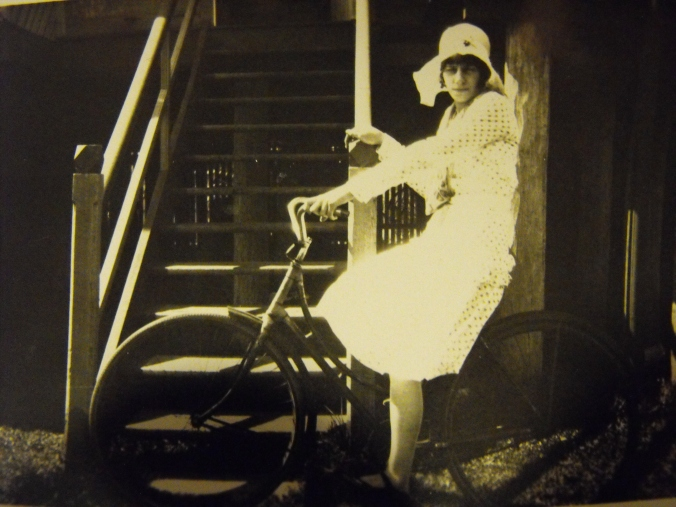 No lycra and no helmet and probably no gears. Cycling in years gone by.