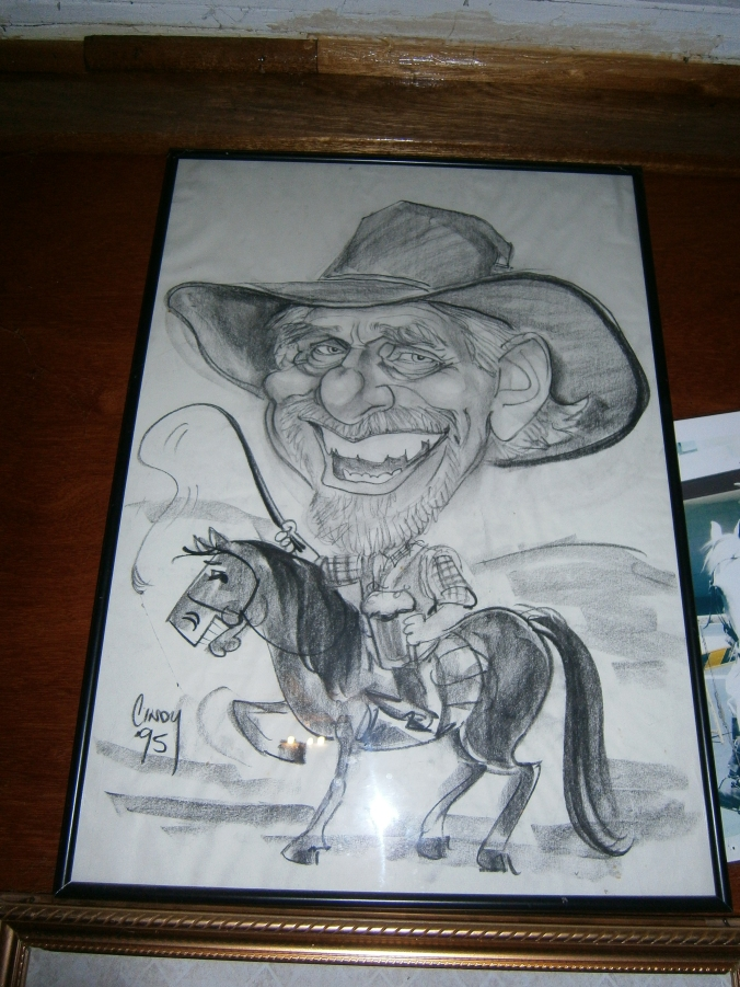 Caricature of Steve, the horseman from Three Waters.
