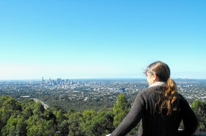 Me in winter viewing Brisbane from Mt Coot-tha lookout.