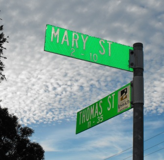 Thomas and Mary Street signs