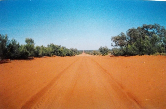 Outback red sandy road